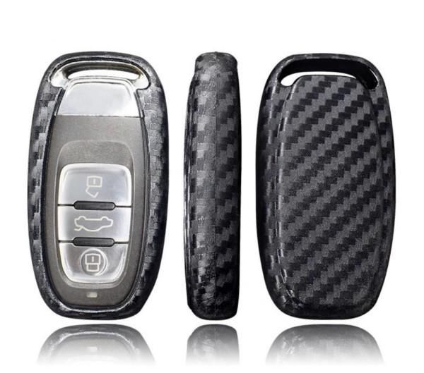Schlüssel Gummi Cover Schlüsselhülle Carbon Optik Passend für Audi A3 A4 A6 Q5
