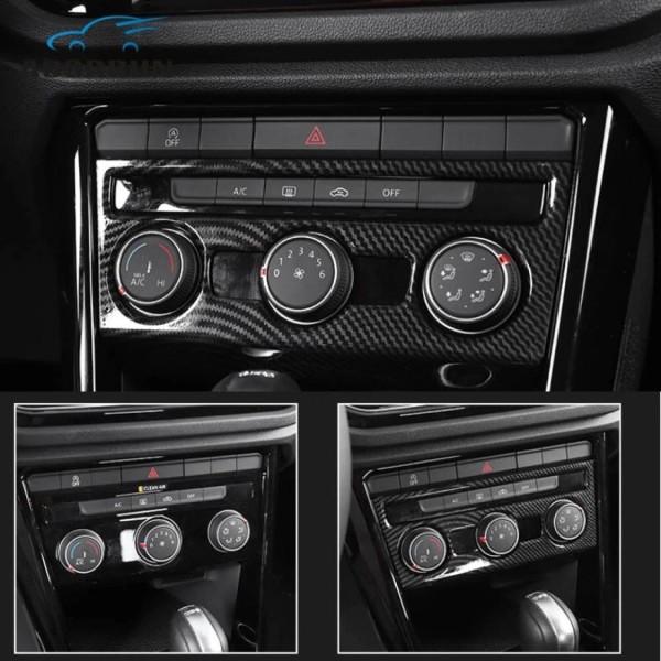 Klima Regler Heizung Rahmen Blende Abdeckung Edelstahl Carbon Optik Passend Für VW T-Roc TDI TSI