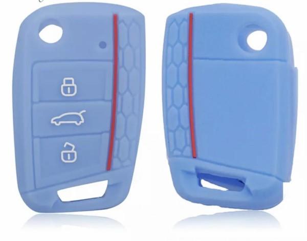 Schlüsselhülle Klappschlüssel Cover Gummi VW Golf 7 Skoda Oktavia Seat Leon 5F Baby Blau