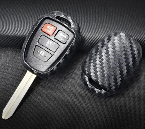 Schlüssel Gummi Schlüsselhülle in Carbon Optik Passend Für Toyota Camry Avalon Corolla Matrix Rav4 Venza Yaris
