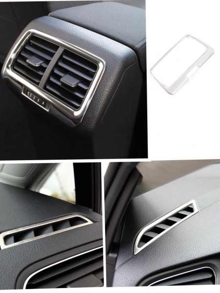 Luftdüsen Lüftung Rahmen Blende  Hinten und Vorne Edelstahl Passend Für VW Golf 7