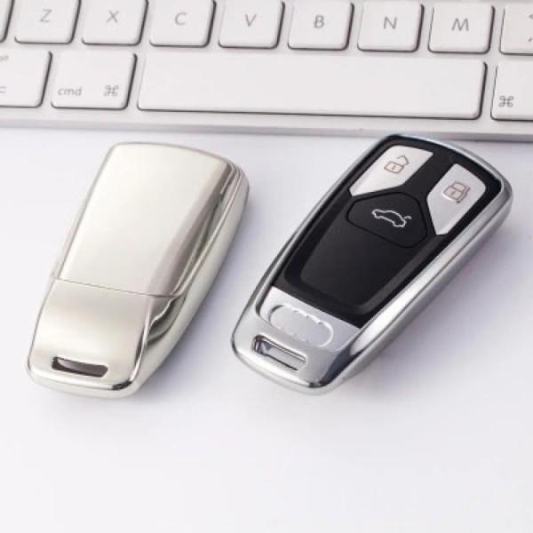 Schlüssel Gummi Cover Schlüsselhülle in Silber Passend für Audi A4 A5 A6 A7 Q5 Q7 S4 S5 S6 S7 SQ5 SQ7