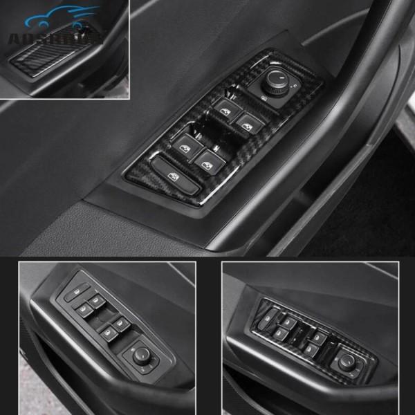 Edelstahl Fensterheber Rahmen Blende Abdeckung in Carbon Optik Passend Für VW T-Roc TDI TSI