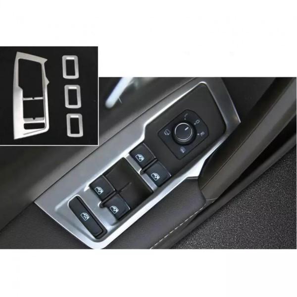 Fensterheber Rahmen Blende Abdeckung in Edelstahl Passend Für VW Tiguan 2 AD1