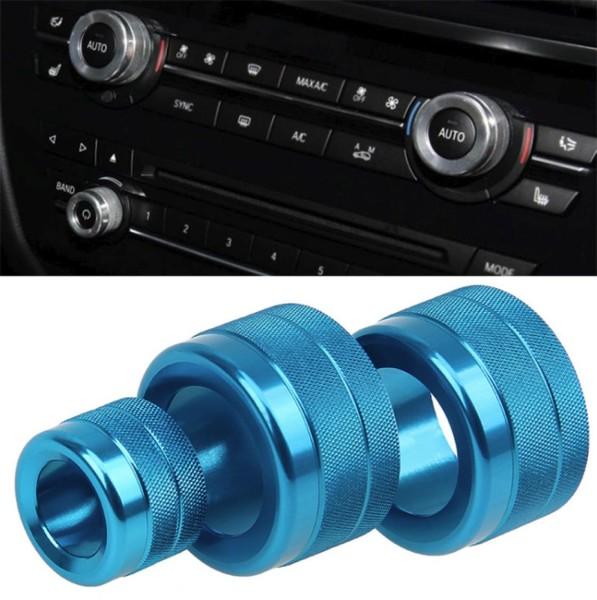 Lüftung Regler Radio Regler Alu Ringe Abdeckung Passend Für BMW 5er F10 GT F07 Blau