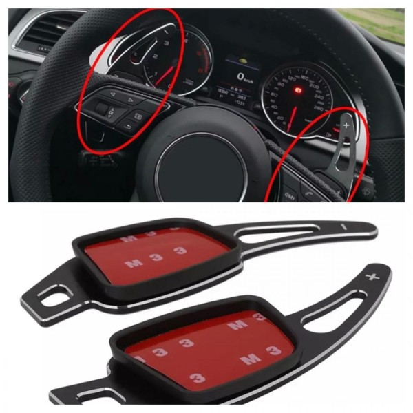 Schaltwippen Verlängerung Shift Paddels in Schwarz Passend Für Audi A1 A3 A4 A5 A6 A7 Q3 Q5