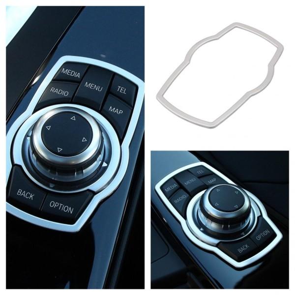 Mittelkonsole Multimedia Steuerung Rahmen Passend Für BMW 1er - 7er Silber