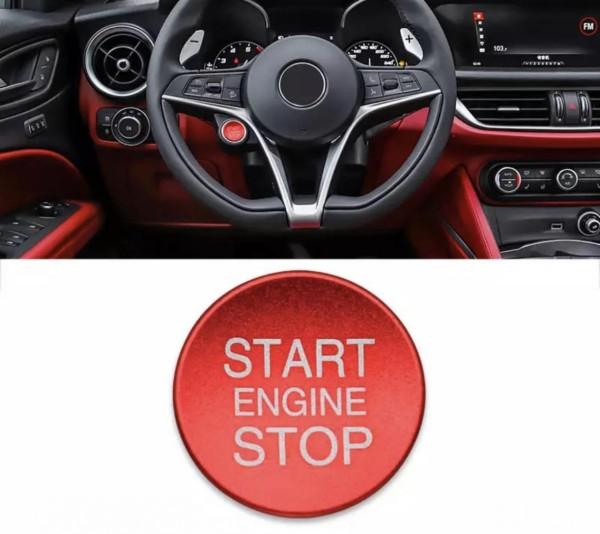 Lenkrad Rahmen Blende Start Stop ABS Matt Rot Passend für Alfa Romeo Giulia Stelvio Romeo Mito Giulietta