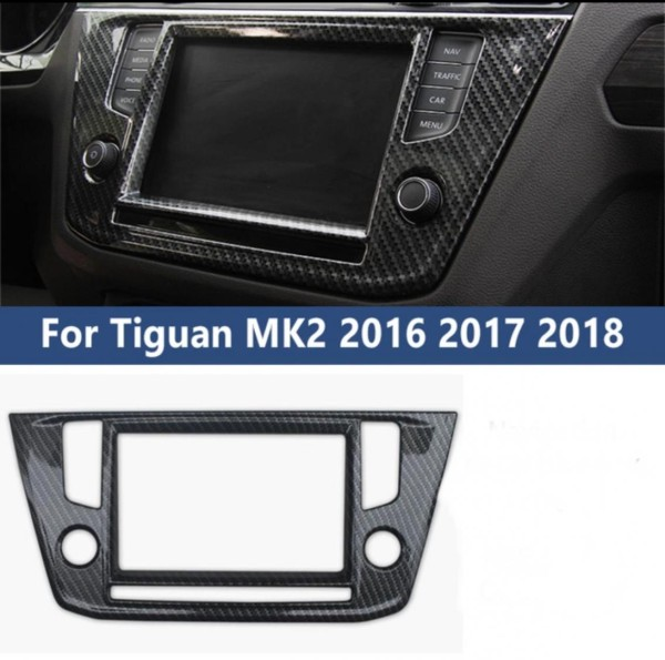 ABS Carbon Optik Radio Blende Rahmen Abdeckung Passend Für VW Tiguan 2 AD1