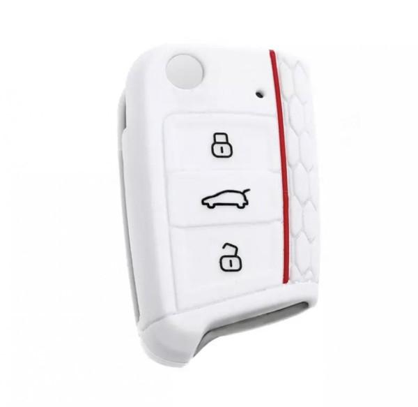 Schlüsselhülle Klappschlüssel Cover Gummi VW Golf 7 Skoda Oktavia Seat Leon 5F Weiß