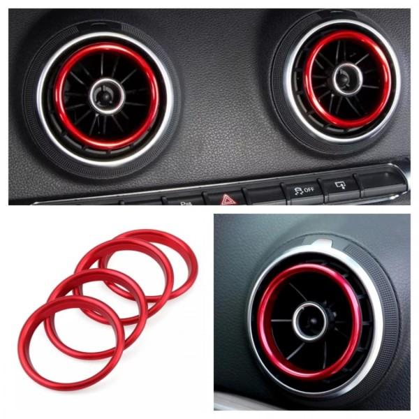 Rote Ringe Lüftungsregler Blenden Rahmen Abdekung Passend Für Audi A1