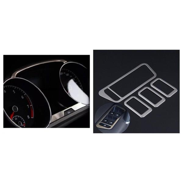 Edelstahl Tacho und Fensterheber Rahmen Blende Passend Für VW Golf 7 MK7 GTI GTD R TDI TSI Club Sport