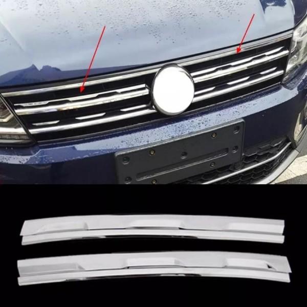 Edelstahl Chrome Frontgrill Leistenabdeckung Blende Passend Für VW Tiguan 2 AD1