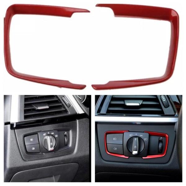 Lichtschalter Rahmen Blende ABS Rot Optik Passend für BMW 3er F30 F31 F34 3GT 4er F36