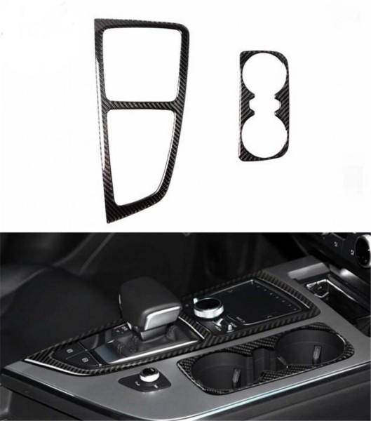 Mittelkonsole Schalttafel Becherhalter Blende Rahmen aus Carbon Flex Passend Für Audi Q7 4M