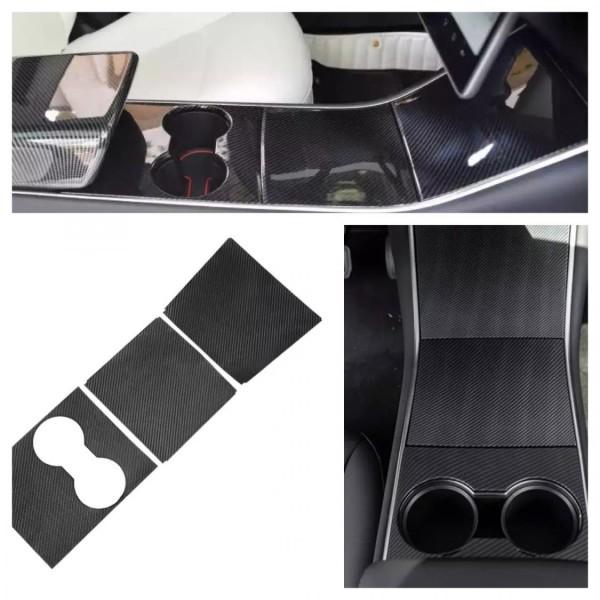 Carbon Optik Set Mittelkonsole Abdeckung Rahmen Blende Passend Für Tesla Model 3