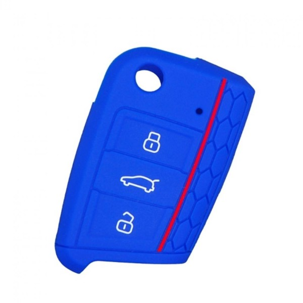 Schlüsselhülle Klappschlüssel Cover Gummi VW Golf 7 Skoda Oktavia Seat Leon 5F Blau