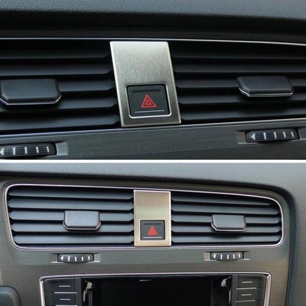 Warnblinker Schalter Blende Abdeckung Edelstahl Passend Für VW Golf 7 GTI GTD R Club Sport TDI TSI