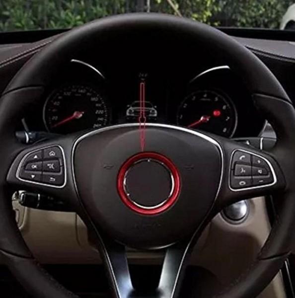 Lenkrad Emblem Aluring 51 mm Innendurchmesser Passend Für Mercedes Benz A Klasse B Klasse CLA GLA in Rot