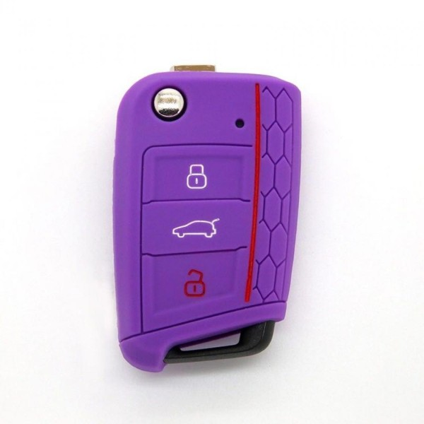 Schlüsselhülle Klappschlüssel Cover Gummi VW Golf 7 Skoda Oktavia Seat Leon 5F Purple