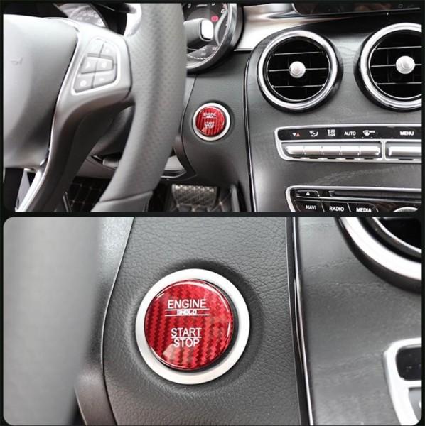 Start Stop Blende Abdeckung Carbon Optik Rot Passend Für Mercedes Benz A B C Klasse GLA GLC GLE GL