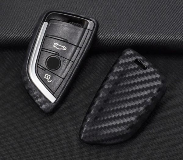 Schlüssel Gummi Cover Schlüsselhülle Carbon Optik Passend für BMW X1 X5 X6 5er Serie ab 2014
