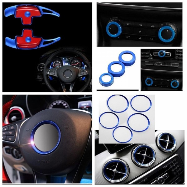 Innenraum Set Passend Für Mercedes Benz Lüftungsringe Emblem Rahmen Klimaregler Schaltwippen Blau